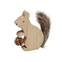 Eichhörnchen aus Holz mit Fell, 11cmx9cm d 1,9cm, natur, Dekofigur !!!