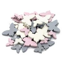 72x Streu-Schmetterlinge Holz flach rosa/grau/creme sortiert 1,5+2,5cm
