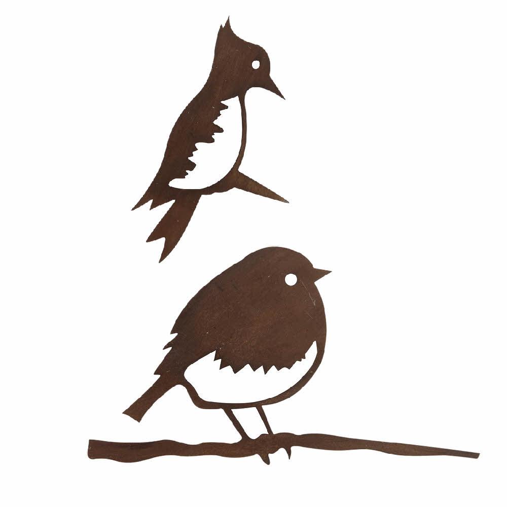 2x Metallstecker Vögel, Sortiment dunkelbraun, 17x9cm/ 14x26cm !!!