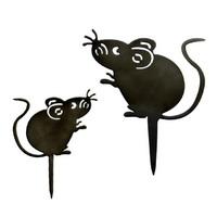 3x Metallstecker Maus, dunkelbraun lackiert, glänzend !!!