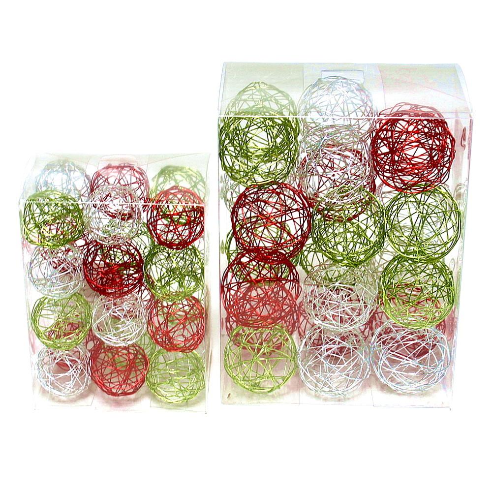 24 Drahtkugeln bunt, 3 Farben sortiert: 4cm/ 24 Stück