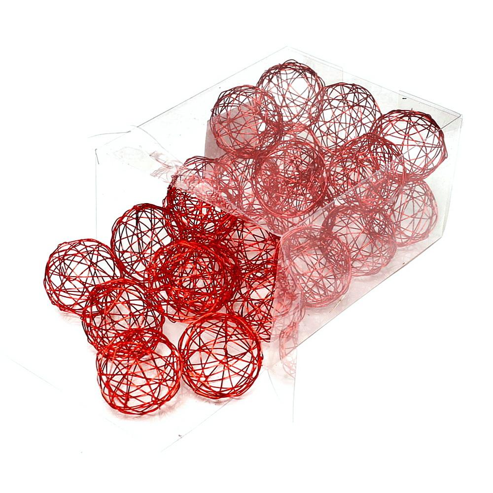 24 Drahtkugeln 4cm, Farbe: rot