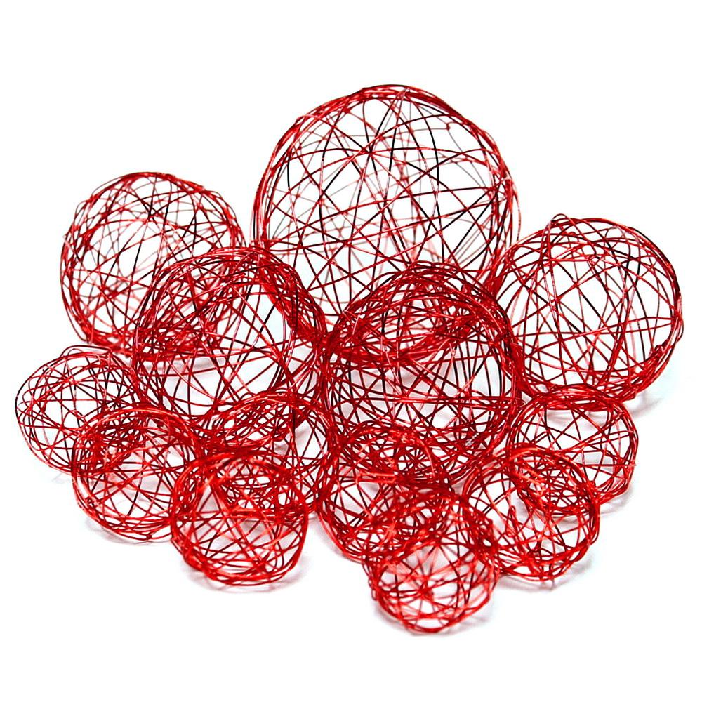 13 Drahtkugeln, Sortiment 3 Größen, Farbe: rot