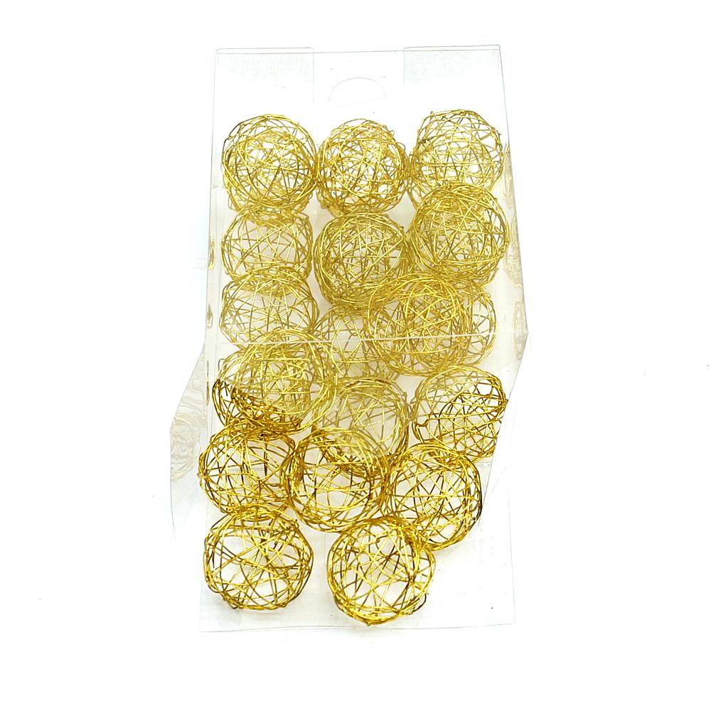 Drahtkugeln in gold, 1,5cm/3cm/4cm Drahtbälle, Dekokugeln, Sparbox !!! 3cm/ 24 S