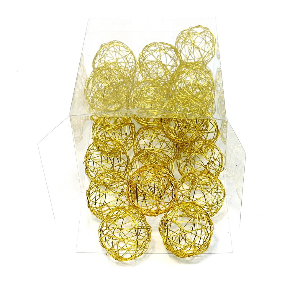 Drahtkugeln in gold, 1,5cm/3cm/4cm Drahtbälle, Dekokugeln, Sparbox !!! 4cm/ 24 S