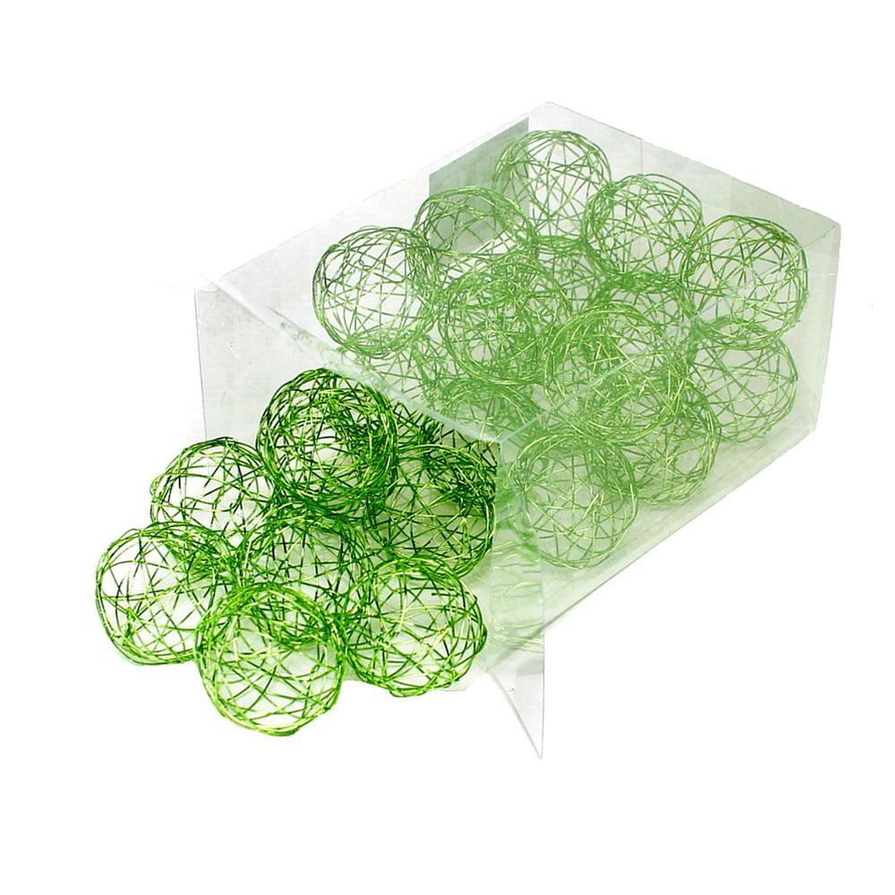 24 Drahtkugeln 4cm, Farbe: h.-grün