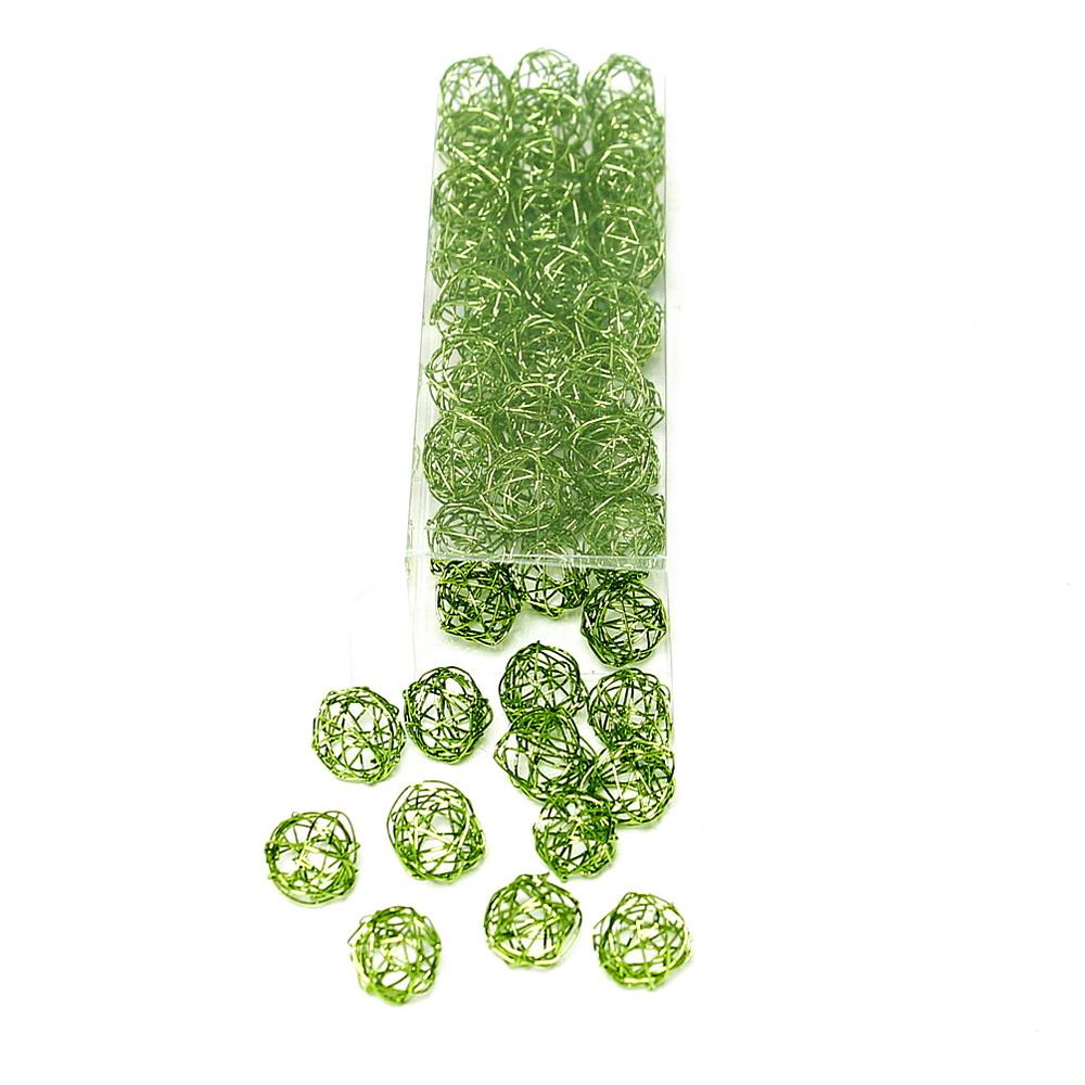 60 mini Drahtkugeln 1,5cm, Sparbox // Farbe: h.grün