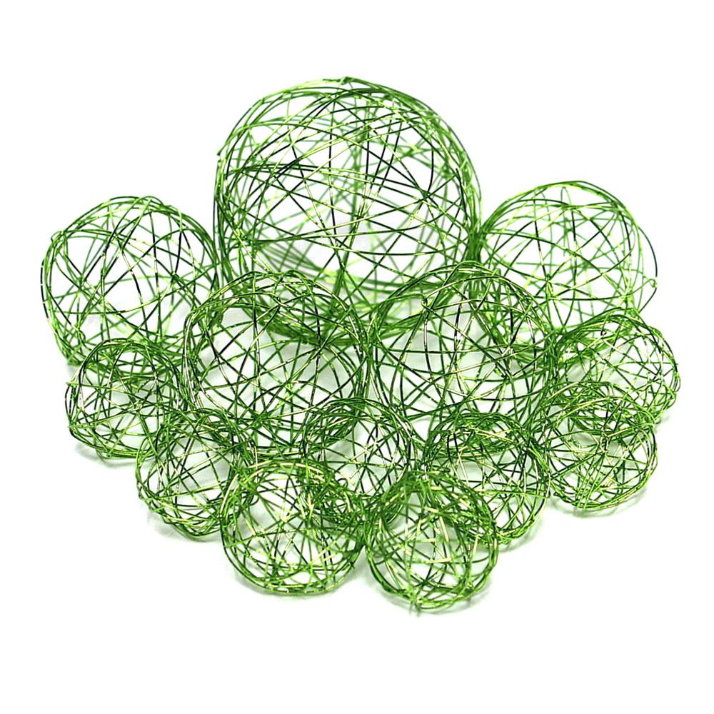 13 Drahtkugeln, Sortiment 3 Größen, Farbe: h.-grün