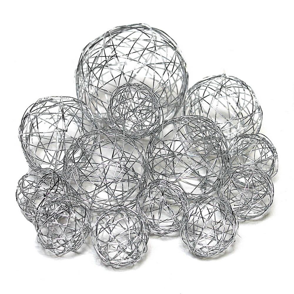 13 Drahtkugeln, Sortiment 3 Größen, Farbe: silber