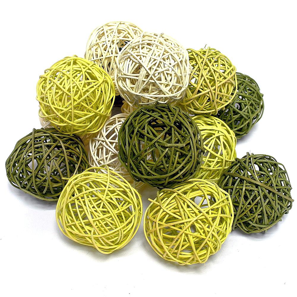 Rattankugeln grün Sortiment,  Rattan Kugeln / 7,5cm/ 15 Stück