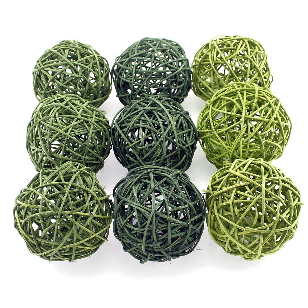 Rattankugeln grün Sortiment 3 Farben, Rattan Kugeln/ 10cm/ 9 Stück !!