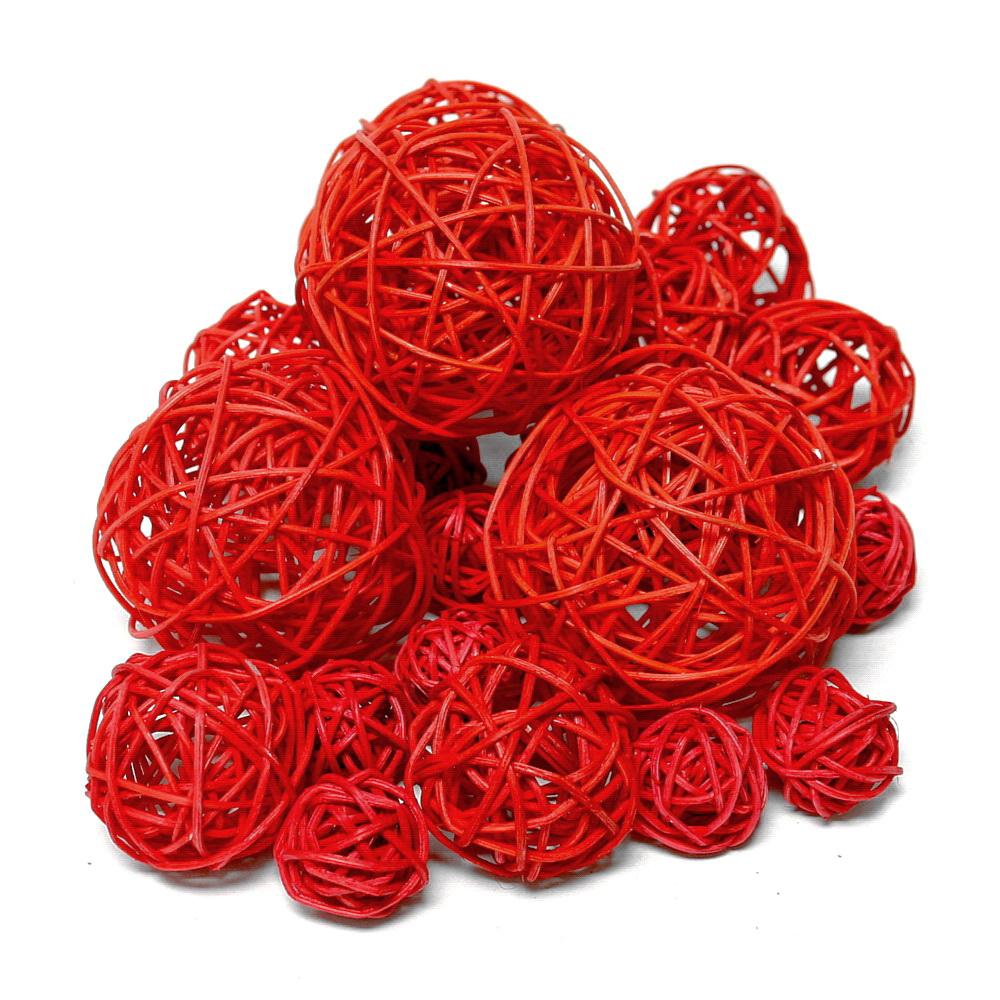20 Rattankugeln rot, Sortiment 3 Größen, Rattan Kugeln !!!