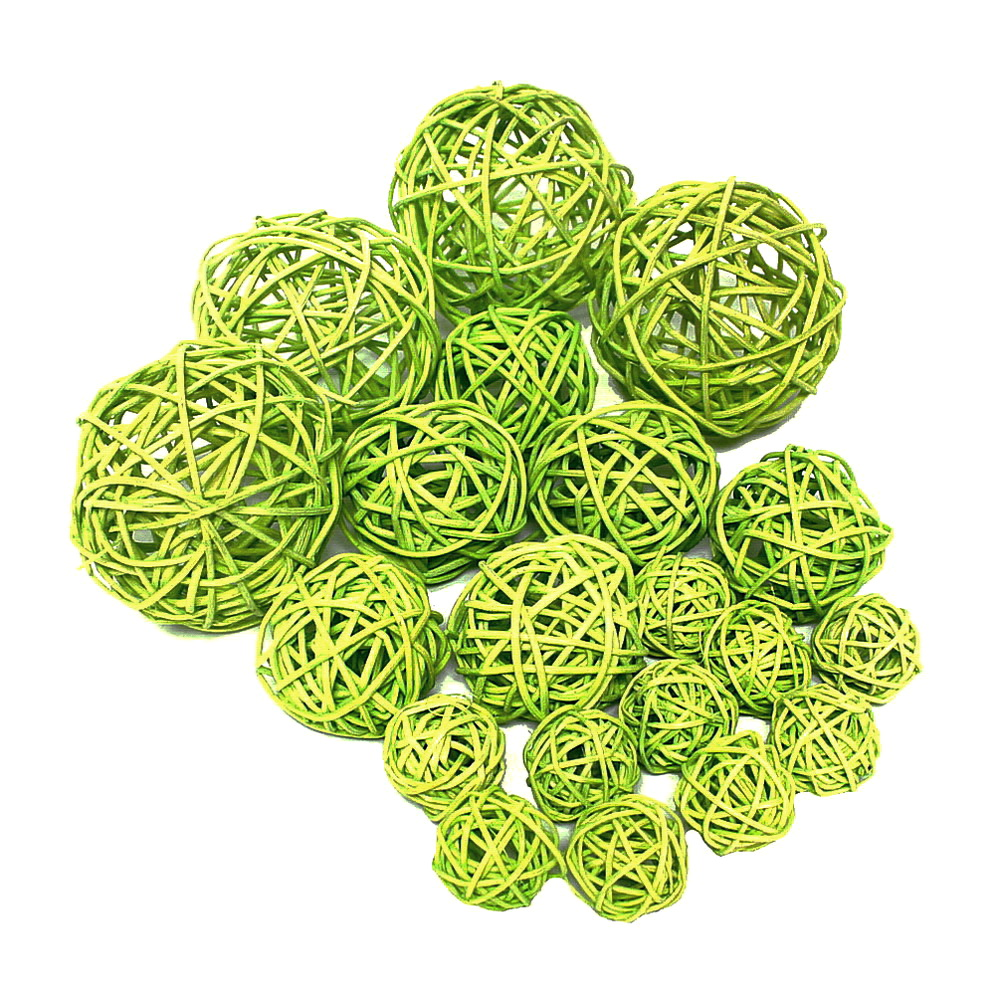 20 Rattankugeln h.-grün (gelblich) Sortiment 3 Größen 3/5/7,5cm !!!