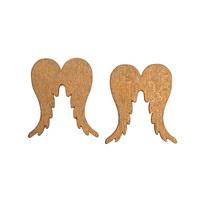 26x Flügelstreuer Holz d.-gold, 5cm x 4,4cm d 0,5cm, Engelflügel !!!