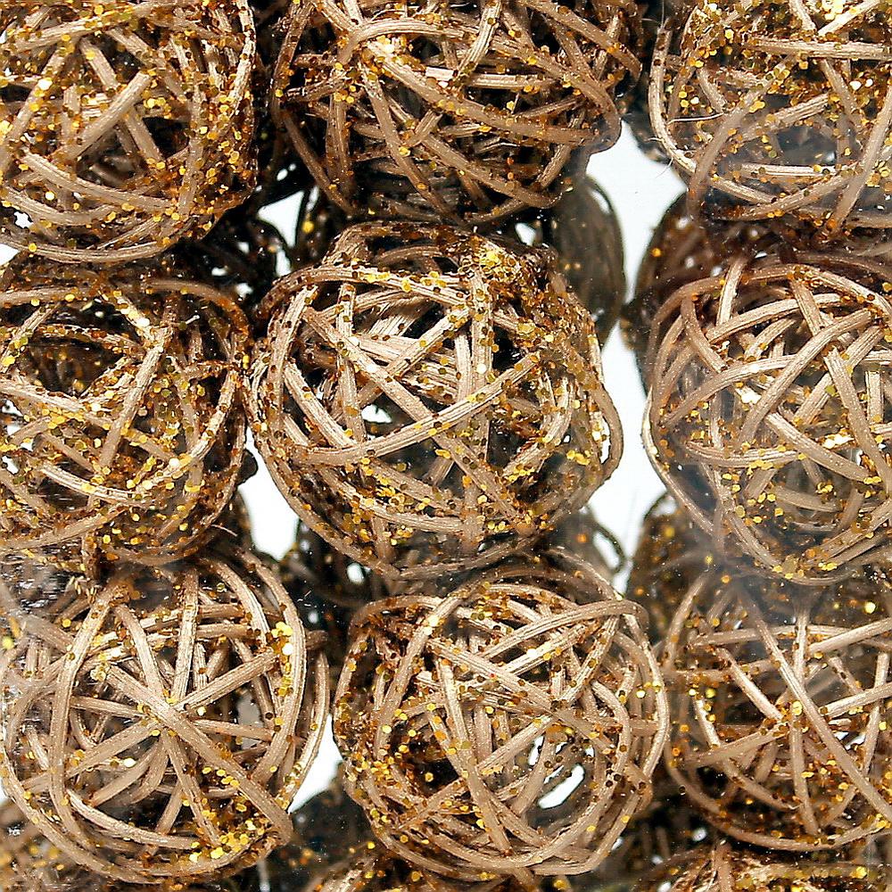 30 Rattankugeln 5cm gold mit Glitter, Rattan Kugeln Sparbox !!!