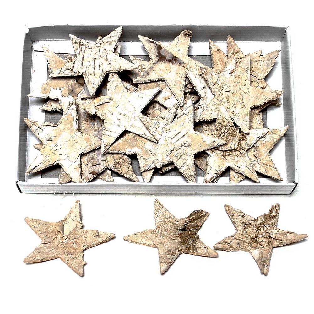 30 St. Birken-Sterne natur 6cm, Streusterne, Birke !!!