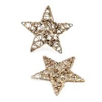 10x Drahtsterne gold mit Glitter und Pailletten, 10cm Stern, Draht !!!