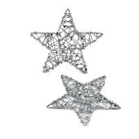 10x Drahtsterne silber mit Glitter und Pailletten, 10cm Stern, Draht !