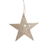 10x Sternhänger Holz gold, mit Sternausschnitten, 9cm Stern, Hänger