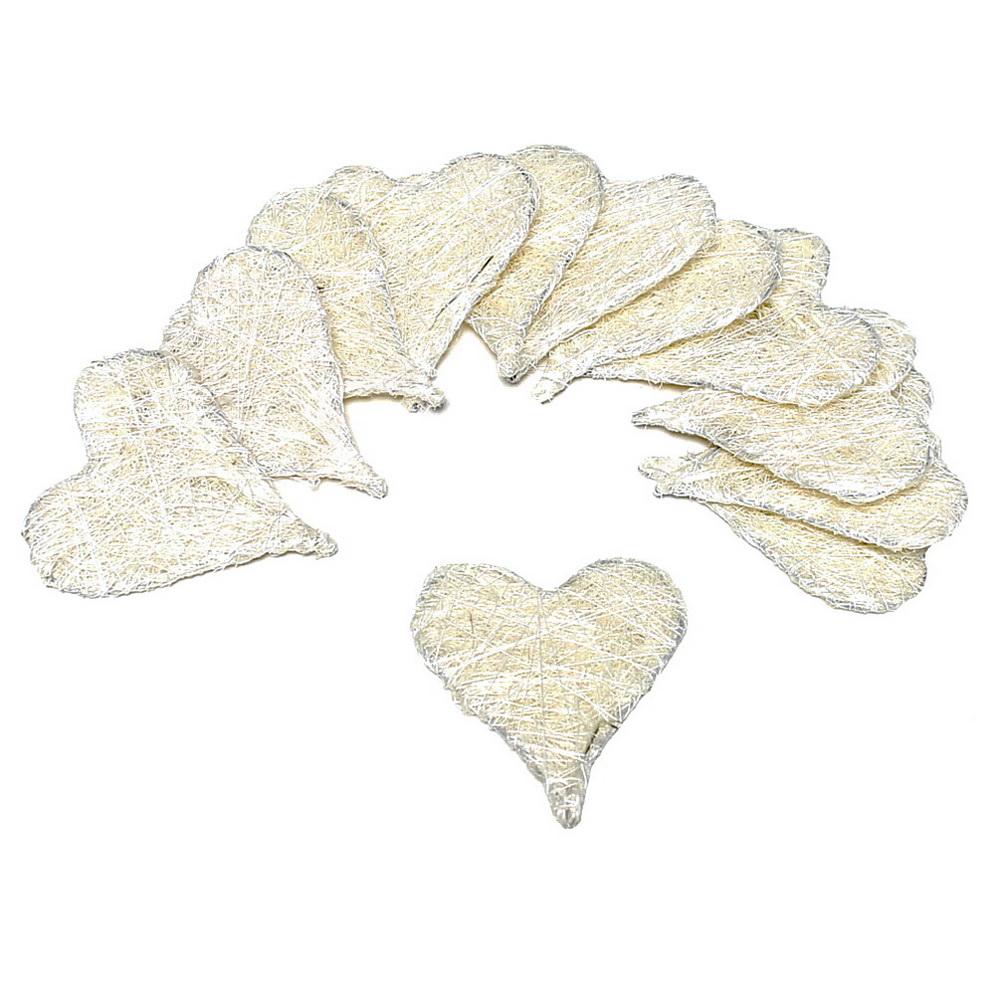 15 Stück Sisal Herzen flach, 5cm, Farbe: creme/natur