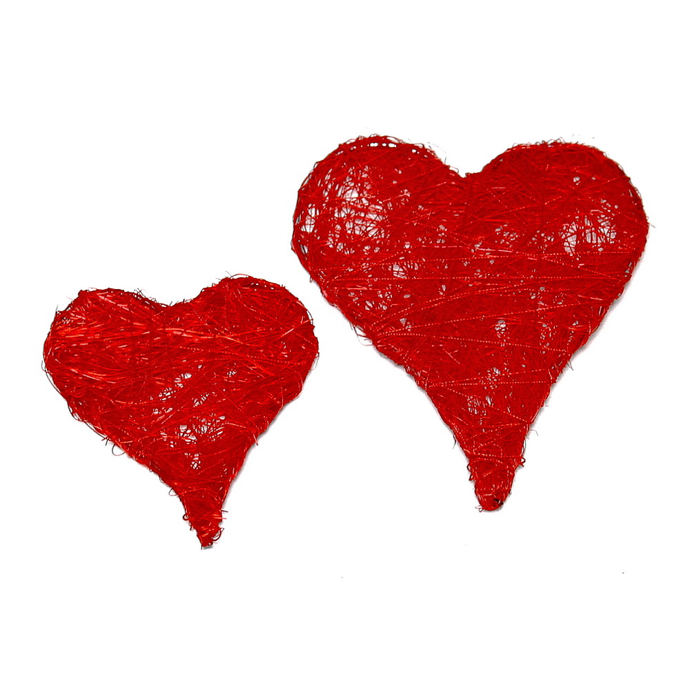 12 Stück Sisal Herzen flach, 7cm, Farbe: rot