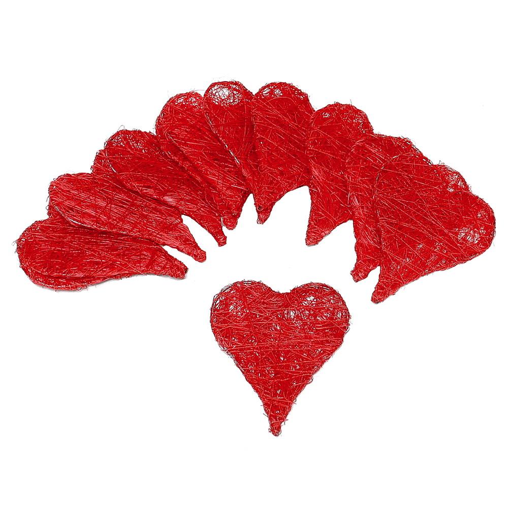 15 Stück Sisal Herzen flach, 5cm, Farbe: rot