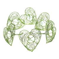 6 Drahtherzen Manschetten 15cm, Farbe: h.-grün