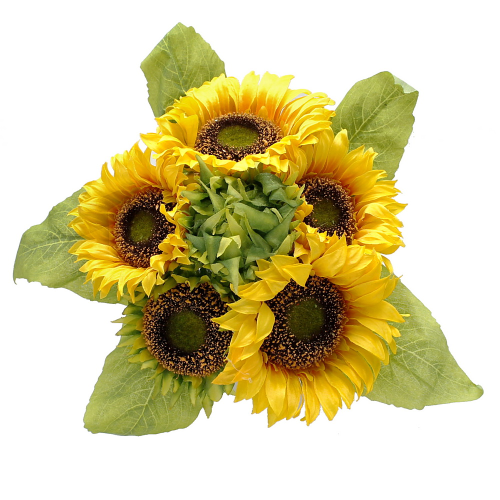 Sonnenblumenstrauß mit 6 Blüten + 5 Blätter L35cm/ Ø25cm, künstlich !!