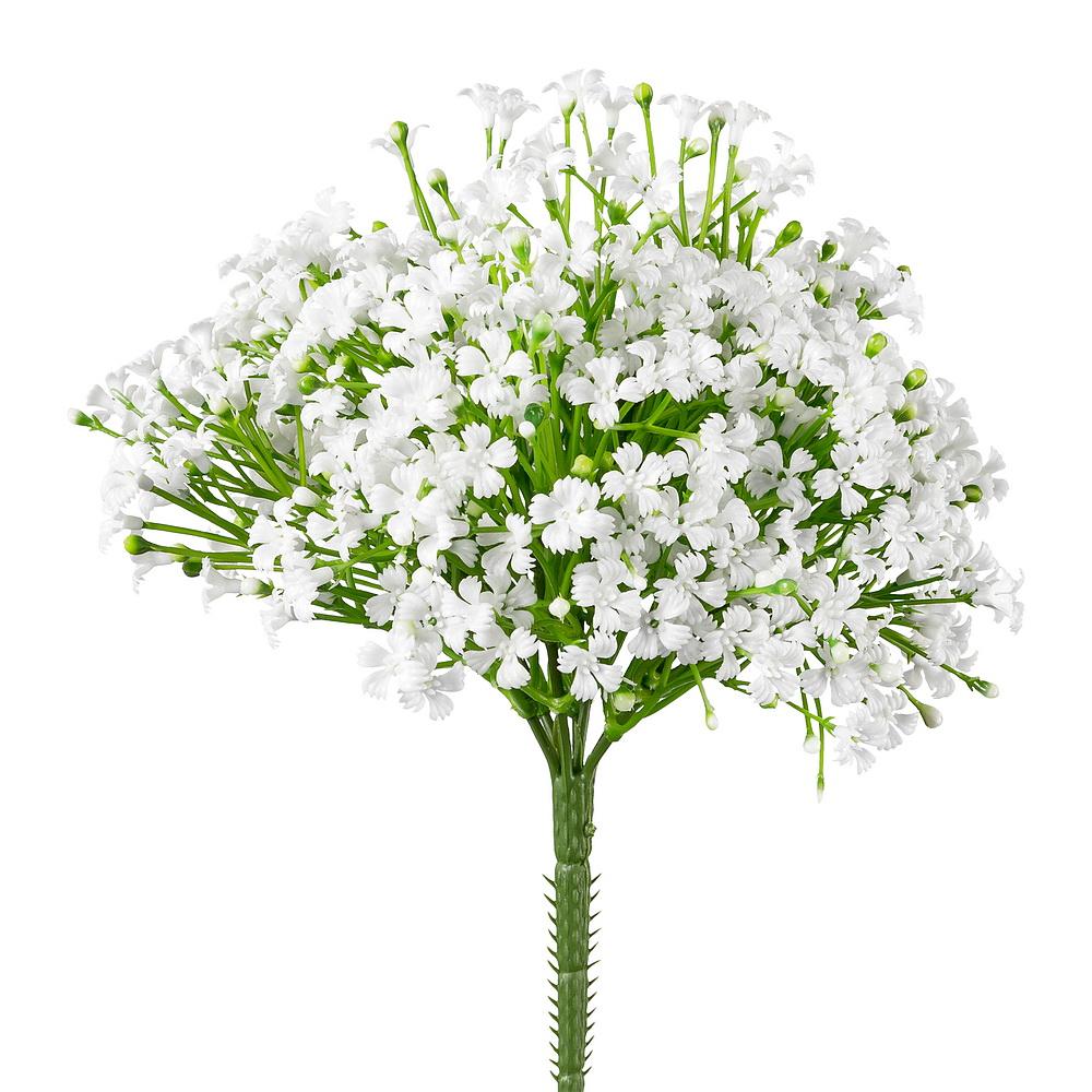 Mini Blütenbusch weiß/grün x7, L 10/23cm, Kunststoff, outdoor !!!
