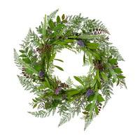 Farn- Muscari- Blütenmix Kranz, auf Bambusring, Ø40cm, grün/violett !!!