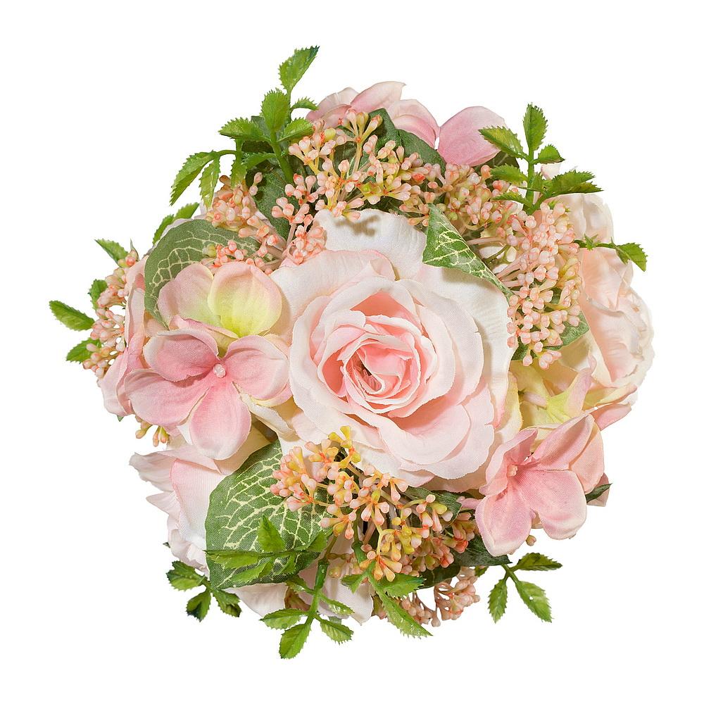 Rosenkugel mit Hortensien gemischt, D 15cm, lachs/rosa/grün !!!