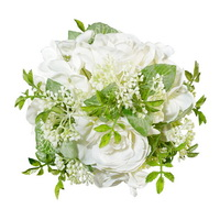 Rosenkugel mit Hortensien gemischt, D 15cm, weiß/creme/grün !!!