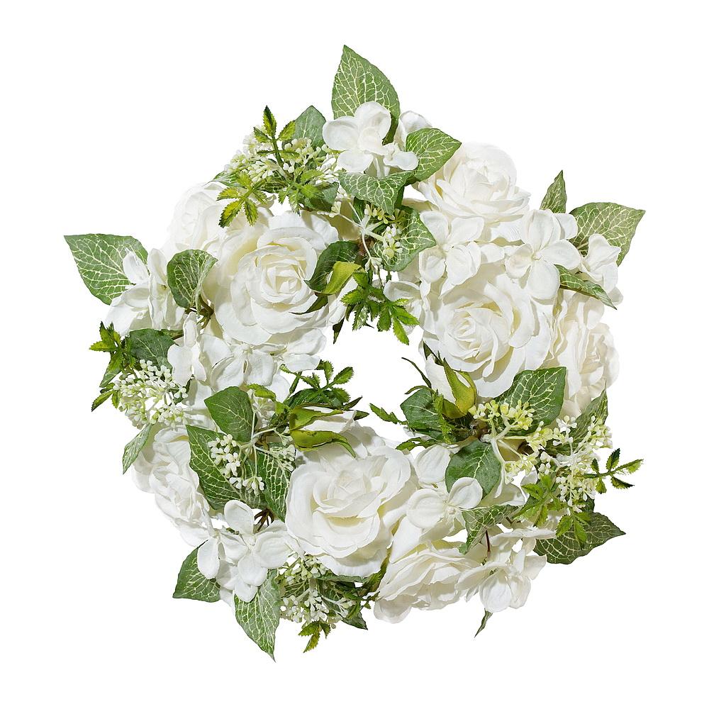 RosenKranz mit Hortensien gemischt, D 30cm, weiß/creme/grün !!!