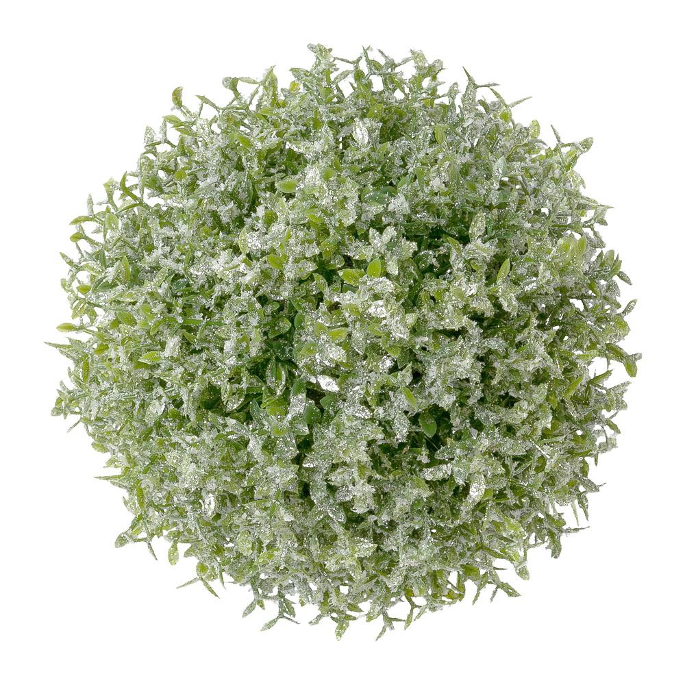 Thymiankugel 14cm grün, Frosteffekt + beglittert, Kunststoff outdoor !