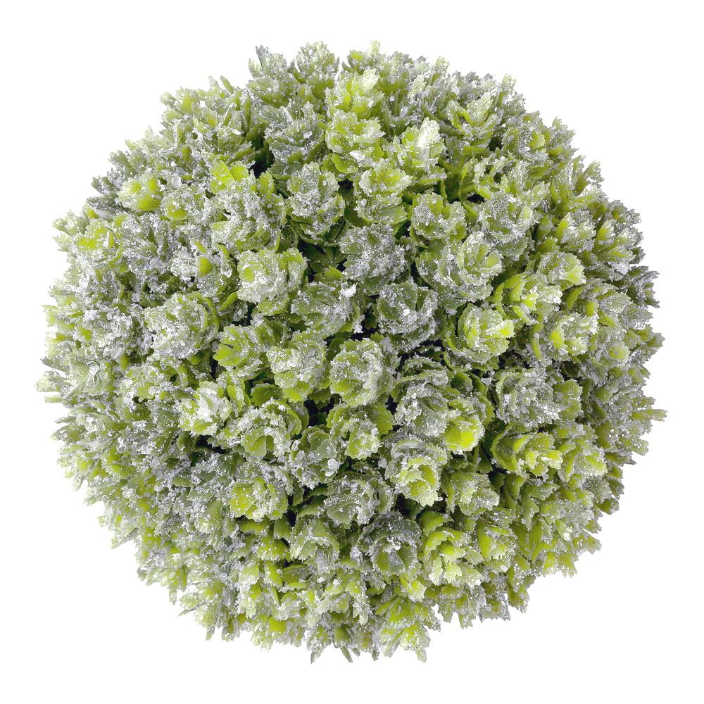 Sedumkugel 14cm grün, Frosteffekt + beglittert, Kunststoff outdoor !!!