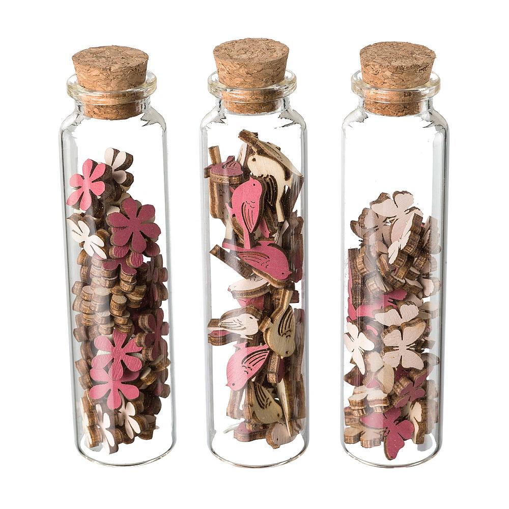 3x 48 Streuartikel in Flasche, Vögel/ Blüten/ Schmetterlinge, 3 Farben