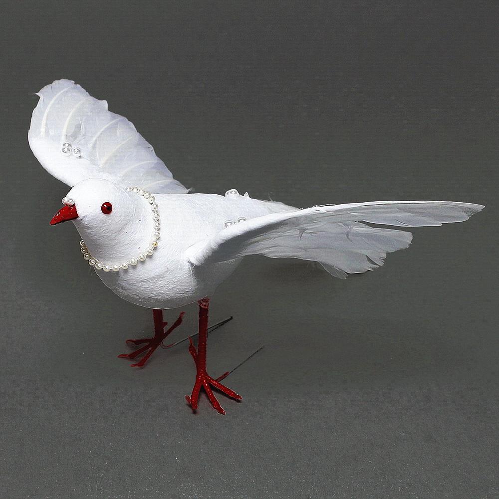 Taube fliegend, weiß mit Perlen, Hochzeit, 30cm GIGANTE Nice Price !!!