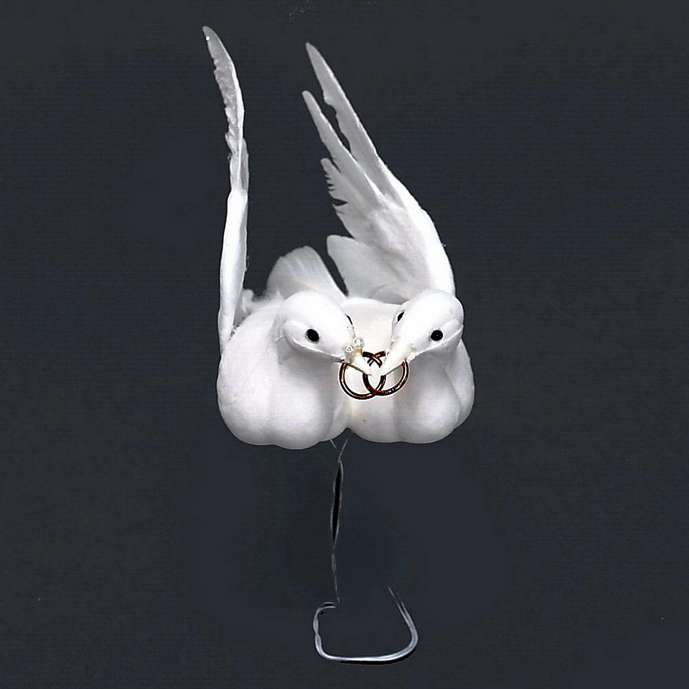 Taubenpaar mit Ringen, 18cm groß, Hochzeit // Nice Price !!!