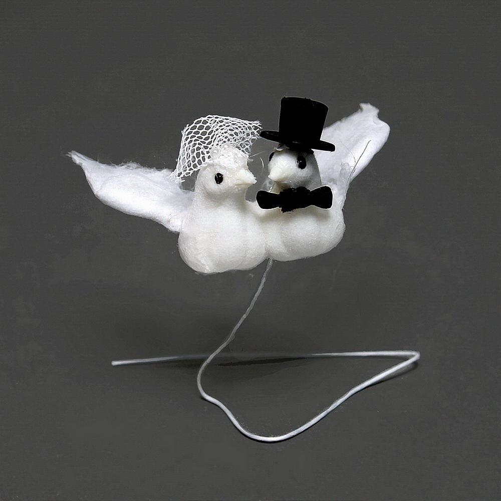 Taubenpaar m. Hut u. Schleier, 8cm klein, Hochzeit / Nice Price !!!
