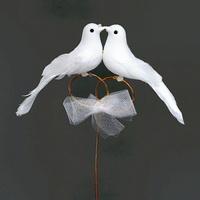 Taubenpaar auf Ringen am Draht, 18cm x 11cm, Hochzeit / Nice Price !!!