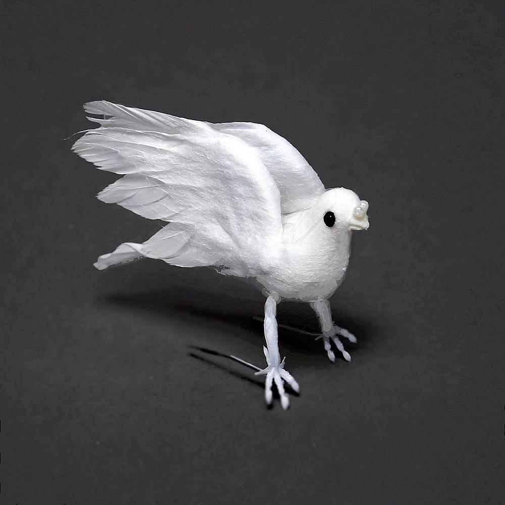 6 Tauben sitzend, ganz weiß, 8cm mini, Hochzeit / Nice Price !!!