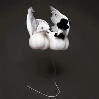 Taubenpaar mit Hut + Schleier, 13cm mittel, Hochzeit / Nice Price !!!