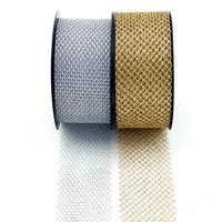 Tüllband weich, gold/silber, 50mm, 20 Meter, wetterfest, Gitterband