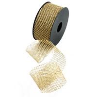 Tüllband weich gold/silber, 50mm, 20 M. wetterfest, Gitterband/  gold