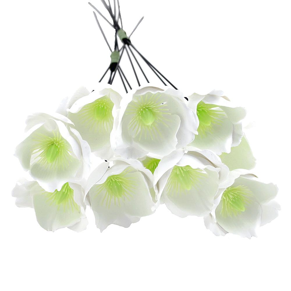 10x Christrosen Blüten weiß, Kunststoff Ø 5cm L30cm Helleborus outdoor