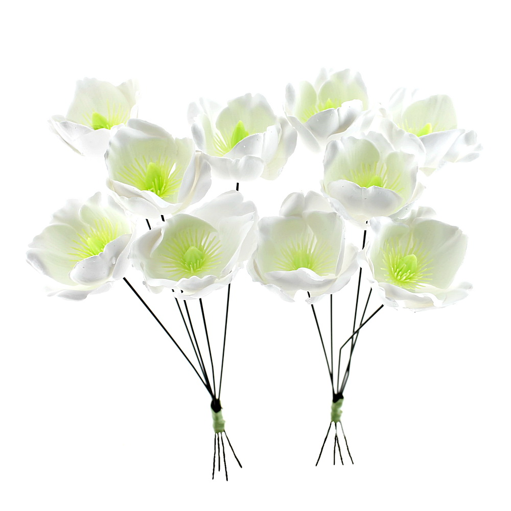 10x Christrosen Blüten weiß Kunststoff Ø 5cm L30cm Helleborus outdoor