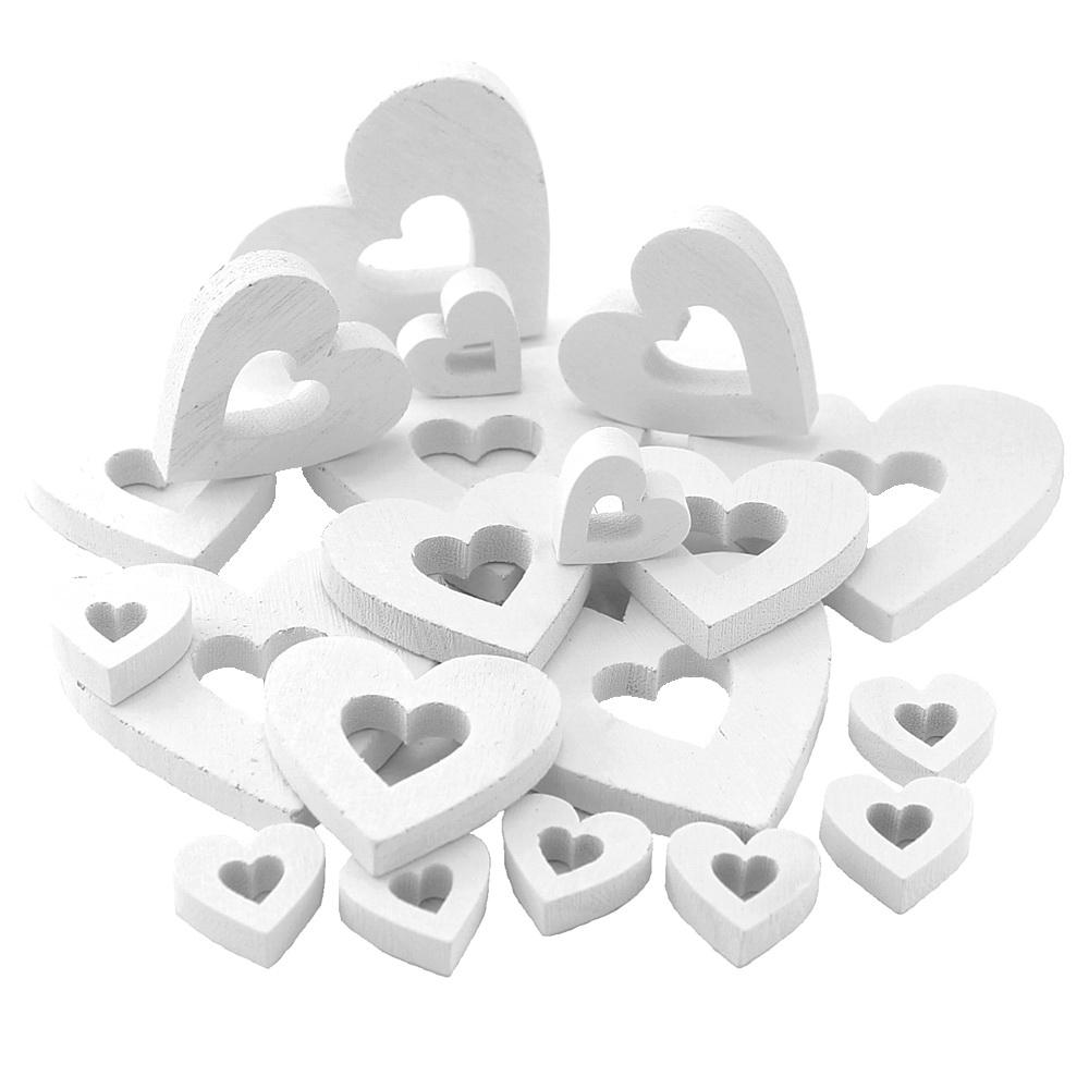 20x Holzherzen OFFEN in 3 Größen Herz weiß 7/5/2,5cm dick 8mm Hochzeit