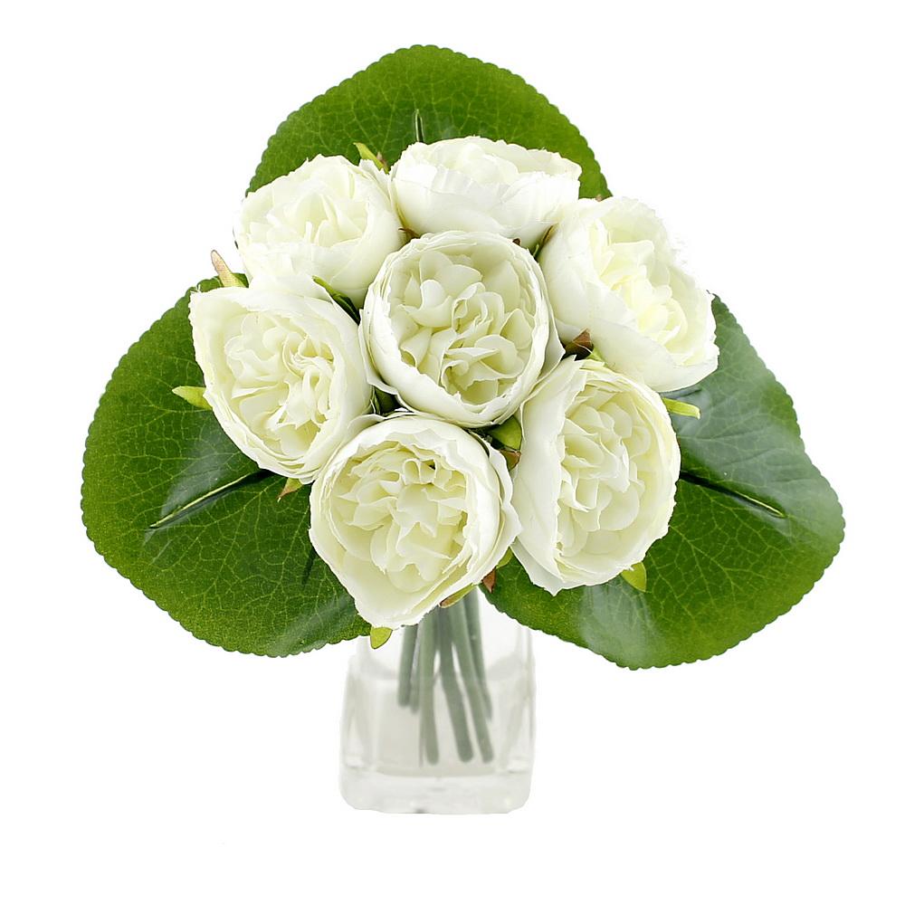 Peony, Pfingstrosen Strauß mit 7 Blüten 3 Blätter /// creme (grünlich)
