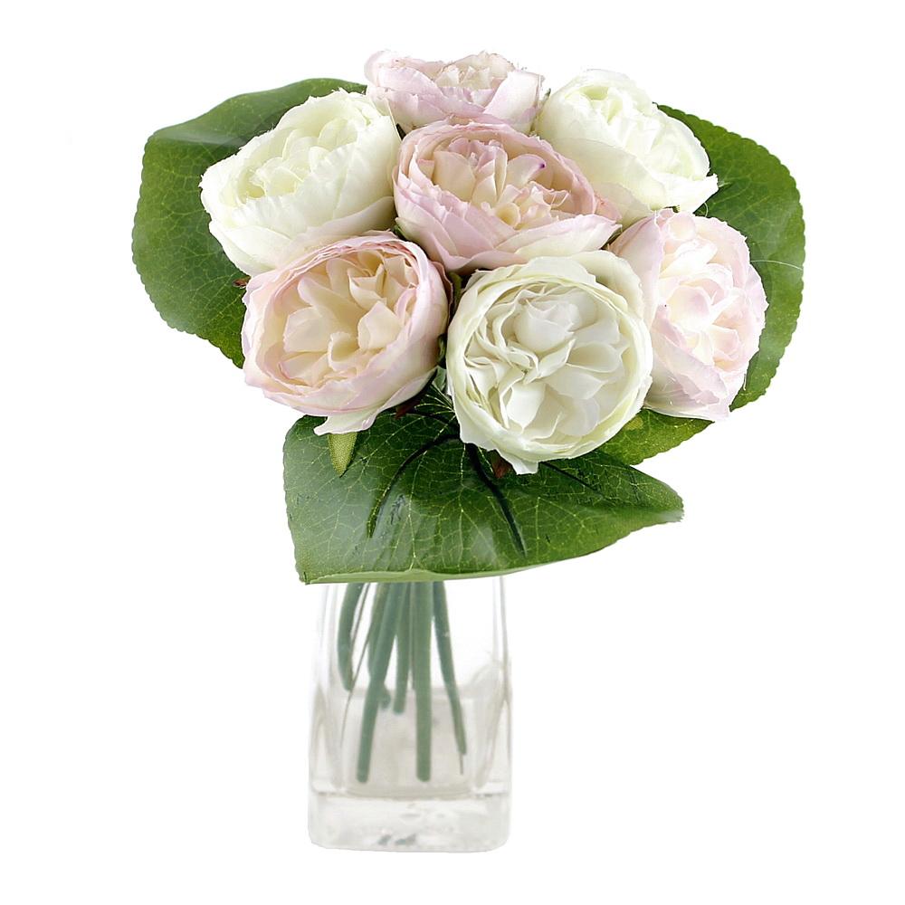 Peony, Pfingstrosen Strauß mit 7 Blüten 3 Blätter /// creme/h.-rosa