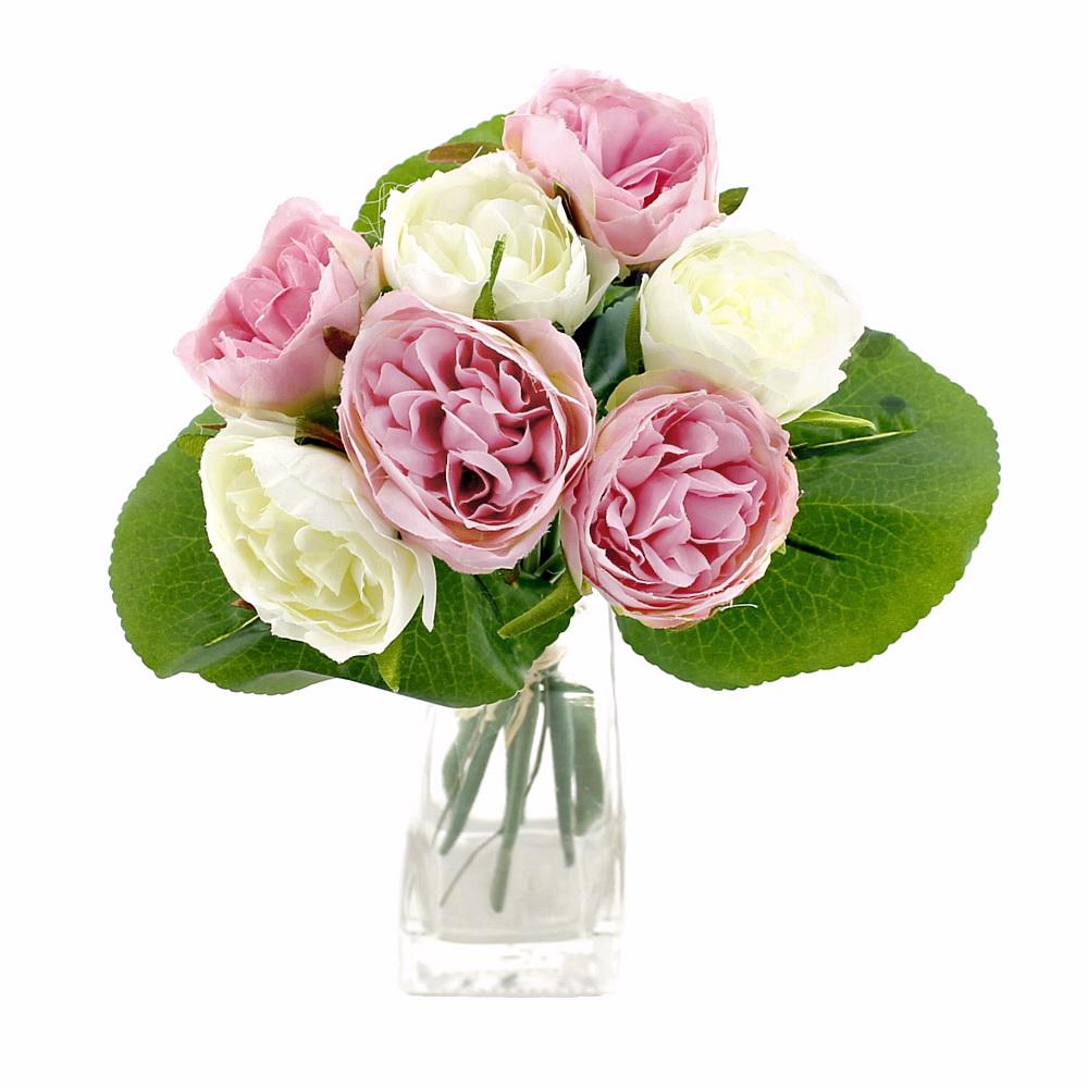 Peony, Pfingstrosen Strauß mit 7 Blüten 3 Blätter künstlich/ creme/rosa